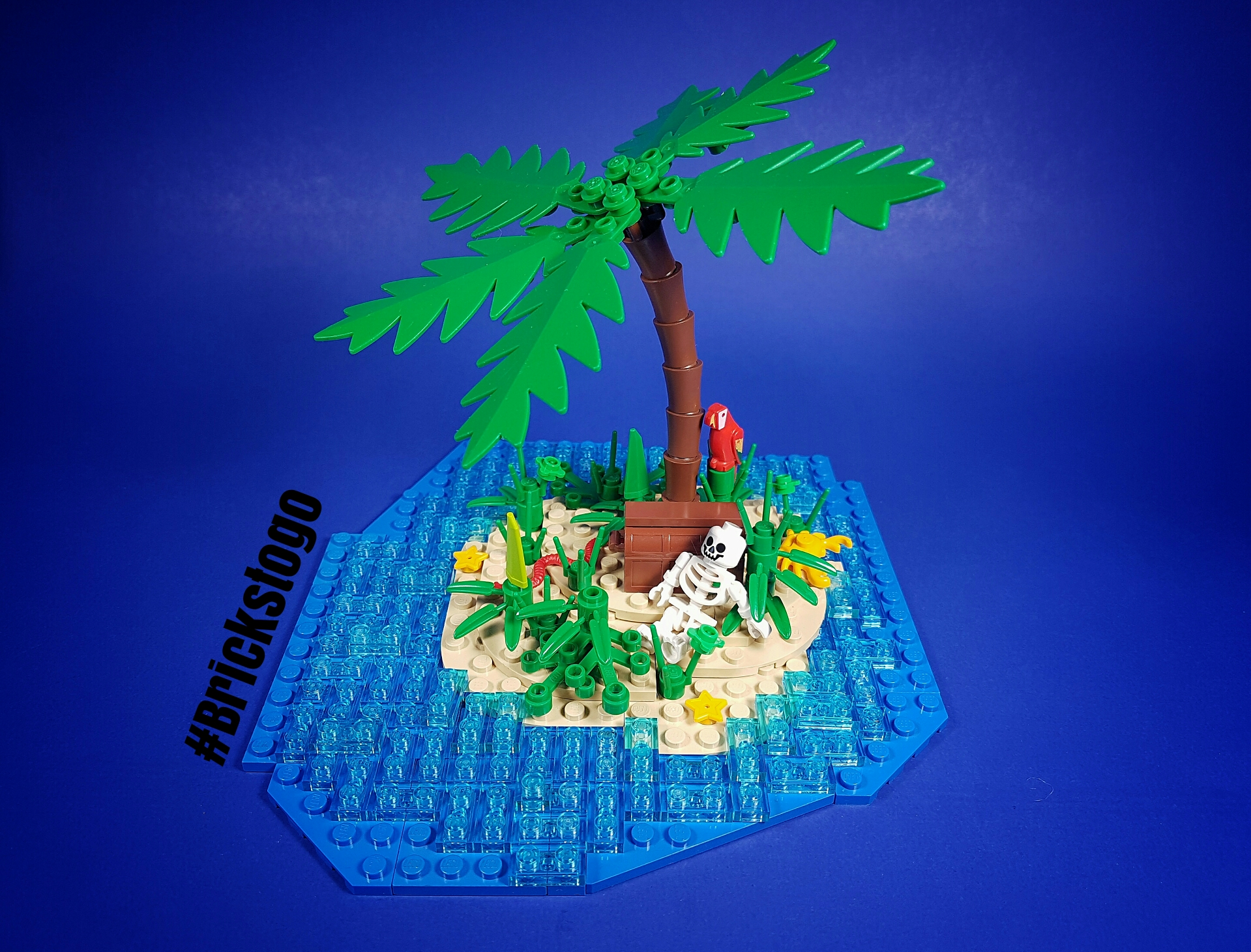 Lego island custom build with palm tree and skeleton