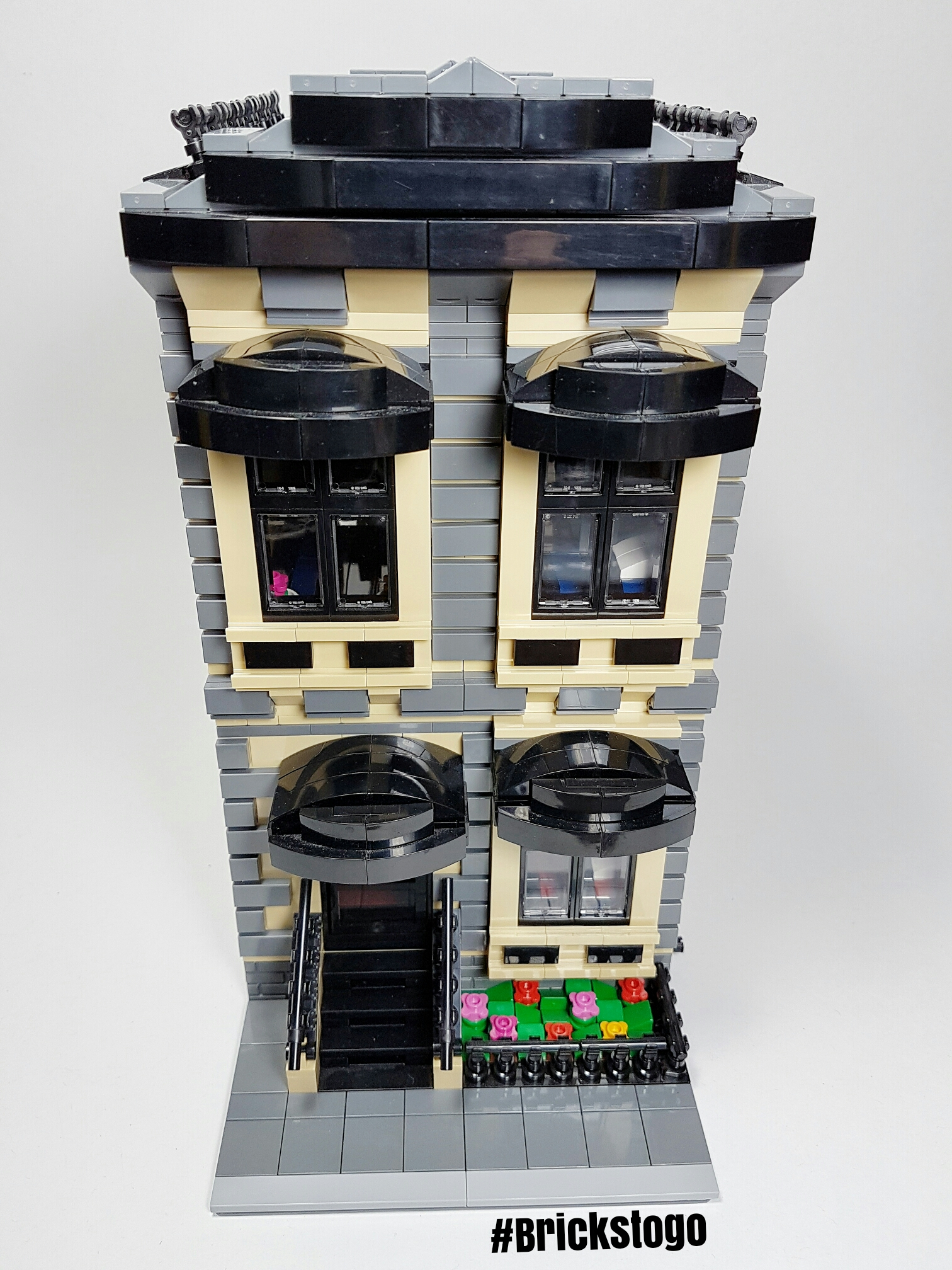 Front view of Lego modular sandstone apartment building