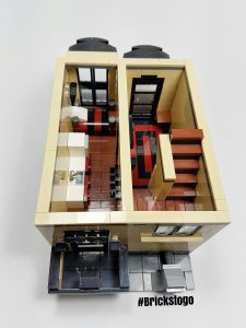 Interior view of modular Lego apartment building