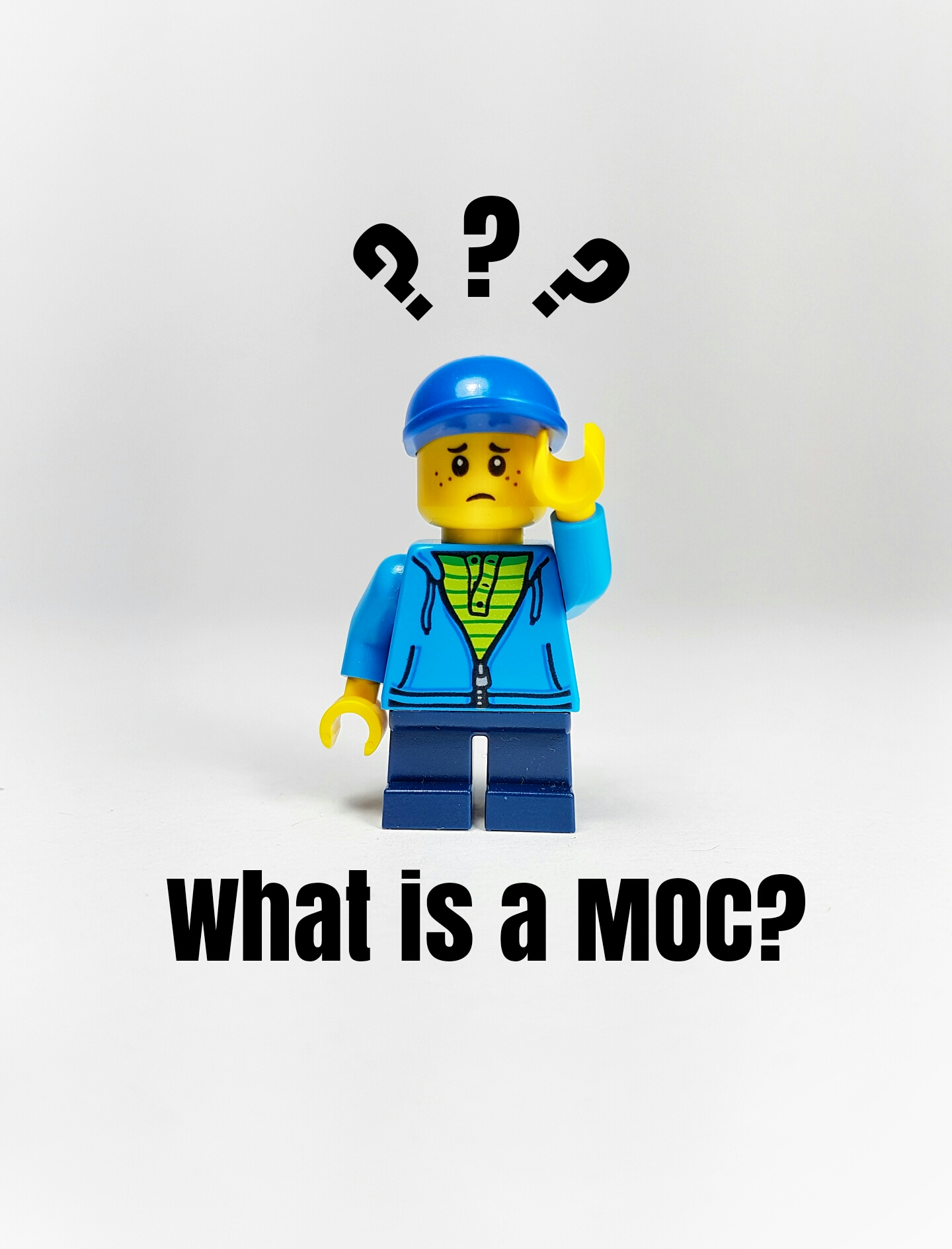 Picture of a confused Lego kid wondering what a MOC is