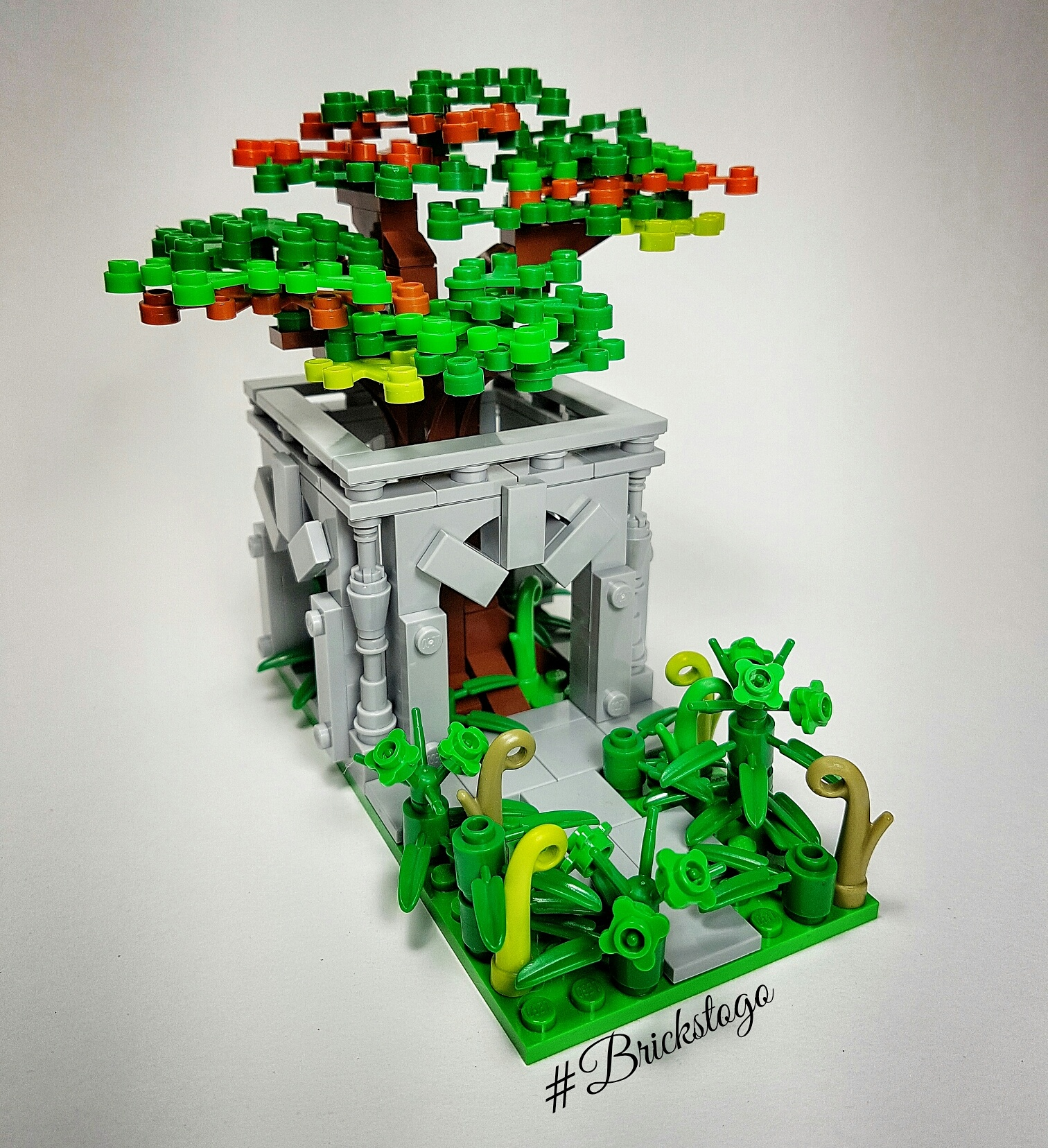 Fantasy Lego build - a forgotten temple with a tree growing in the centre